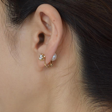 cubic zirconia earring(small/gold)