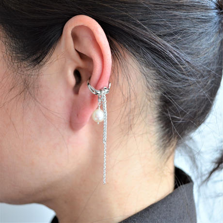 LIMITED COLLECTION【1 fresh water pearl chains earring ( silver )】