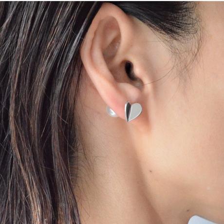 Tiny heart pierce (silver / pearl clasp)