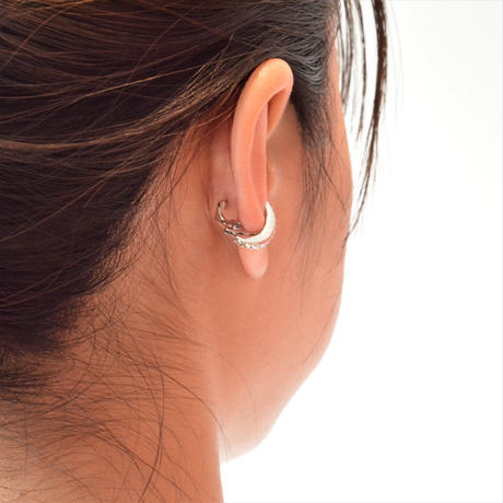 Swarovski element earring (silver / silver shade / 18mm)