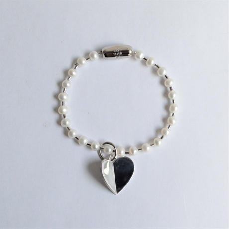 freshwater pearl ball chain bracelet (silver / L size: 21cm)