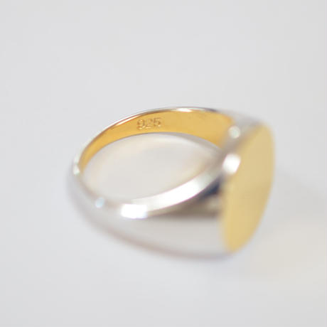 bicolor signet ring (horizontal / gold / silver / silver925)