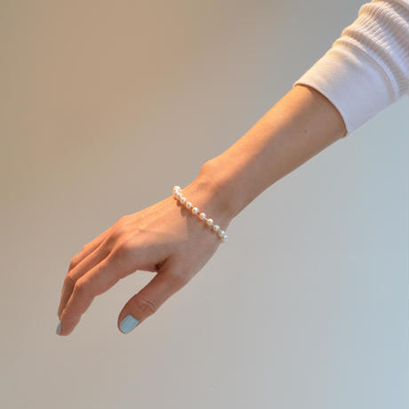 freshwater pearl ball chain bracelet (silver / S size: 18cm)