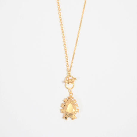 metal stone necklace (gold / silver925)