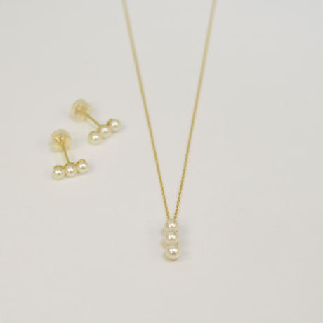 RECCOMEND SET 【K10 three pearls single pierce ×2 / K10  3pearls necklace (vertical)】