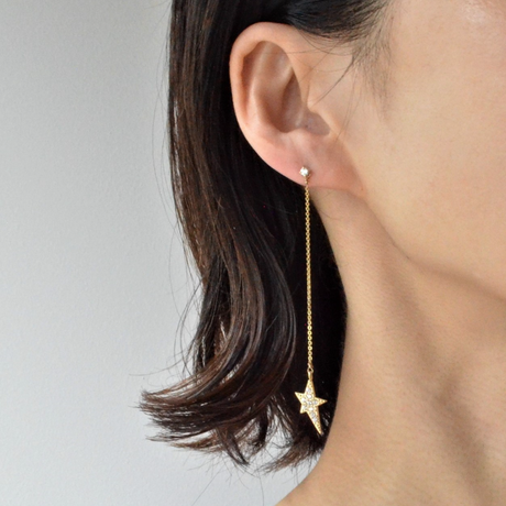 2way star long chain pierce(1cubiczirconia/swarovski element/9mm pearl catch)