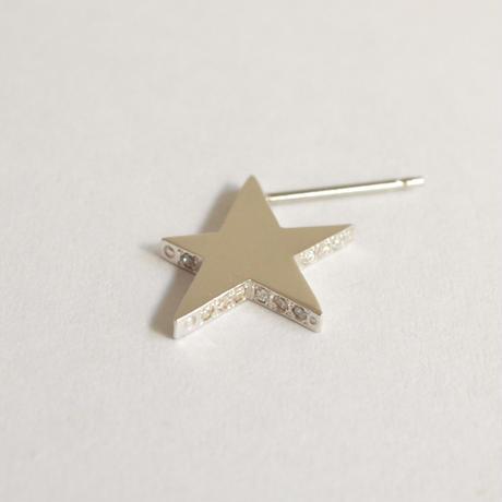 Tiny star line stone pierce (silver / cubic zirconia / shine gold tube clasp)