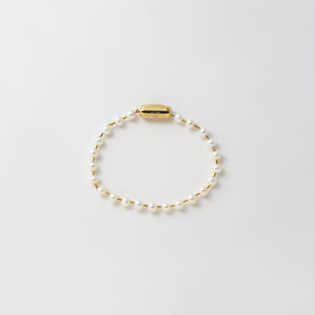 freshwater pearl ball chain bracelet (gold / L size: 21cm)
