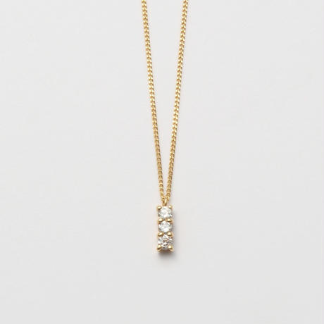 3 diamonds necklace (K10/vertical)