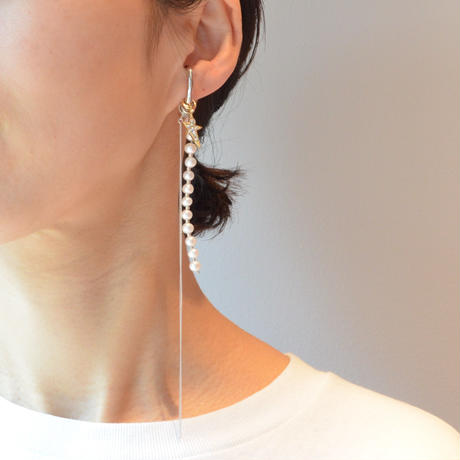 LIMITED COLLECTION【pave gold star silver long chain earring ( fresh water pearl / silver )】