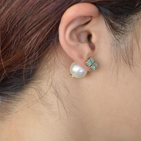 bijoux pierce ( 4crystals / blue / star back)