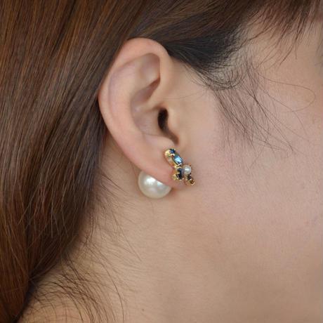 bijoux  4crystals , pearl pierce (Indigo Blue, Brown Mix)