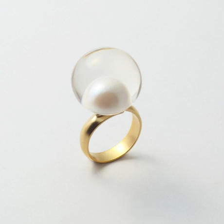 inclusion ring(large /white pearl)