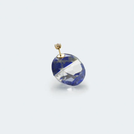 semi precious stone pierce (round / blue)
