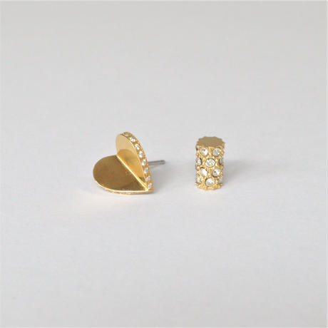 Tiny heart line stone pierce (gold / cubic zirconia / pave clasp)