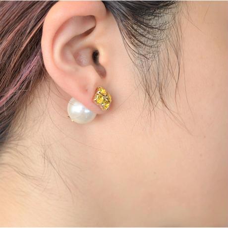 bijoux pierce ( 4crystals / yellow / star back)