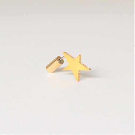Tiny star line stone pierce (gold / cubic zirconia / shine gold tube clasp)