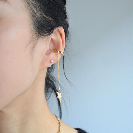 LIMITED COLLECTION【Gold star earring × Cubic zirconia & pearl pierced earring ( gold )】