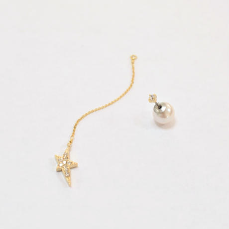 2way star chain pierce(1cubiczirconia/swarovski element/9mm pearl catch)