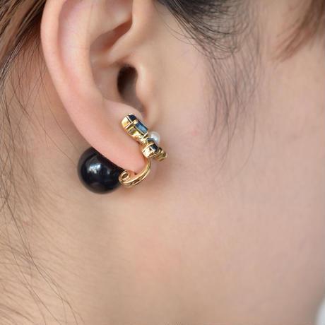 bijoux 4 crystals , pearl earring (Indigo Blue , Brown Mix)Black catch