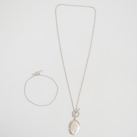 large signet necklace (silver / silver925)