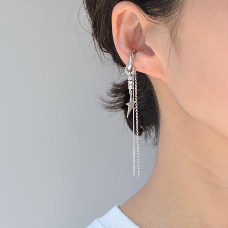 LIMITED COLLECTION【silver chains silver metal star earring ( cubic zirconia )】