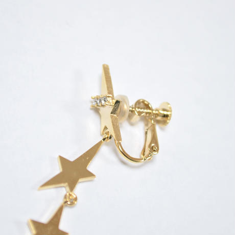 2way star earring (4star/cubiczirconia/9㎜ pearl catch)