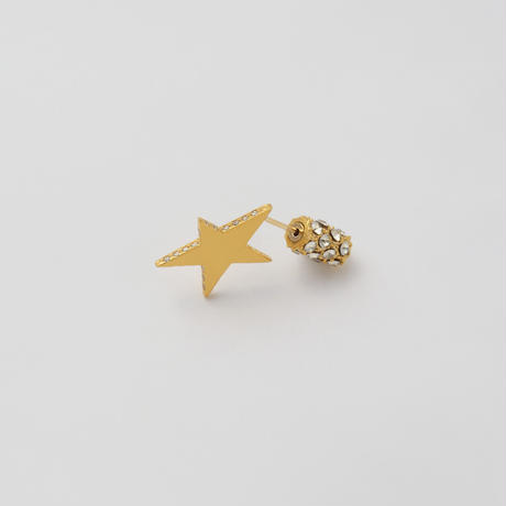 Tiny star line stone pierce (gold / cubic zirconia / pave clasp)