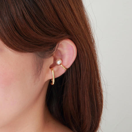 Gold line earring(22㎜/8㎜ creamrose pearl/Gold)