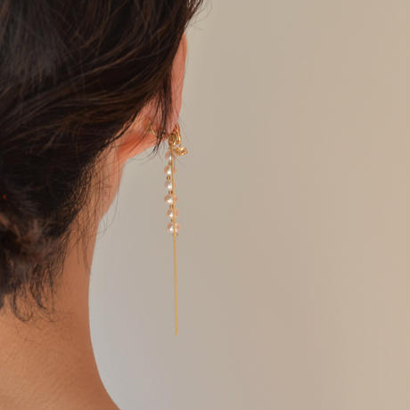 LIMITED COLLECTION【gold chain earring ( fresh water pearl / cubic zirconia / horizontal )】