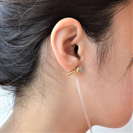 Dumortierite K18 post pierced earring