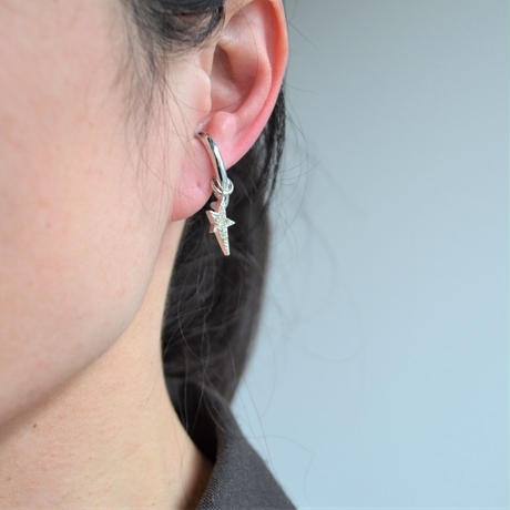 LIMITED COLLECTION 【Pave silver star & silver long chain earring ( freshwater pearl / silver )】