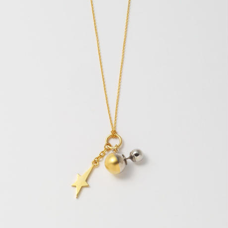 metallic pearl rivets and star necklace