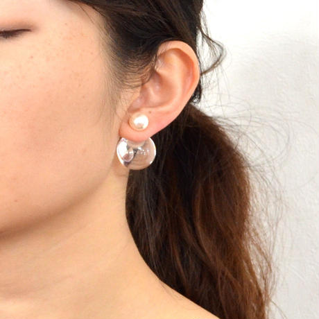 inclusion pierce (pearl×cubic zirconia / large /white)