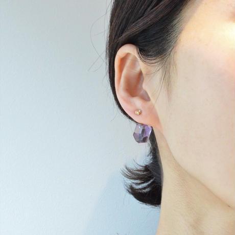 Kaleido pierced earring(Amethyst / White topaz)