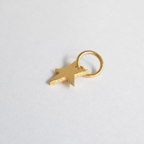 【ORDER】Tiny star line stone charm (gold / cubic zirconia)