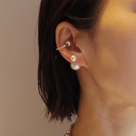 RECOMMEND SET【basic pearl rivets (8mm white pearl × 14mm white pearl) / Gold line earring(Gold)】