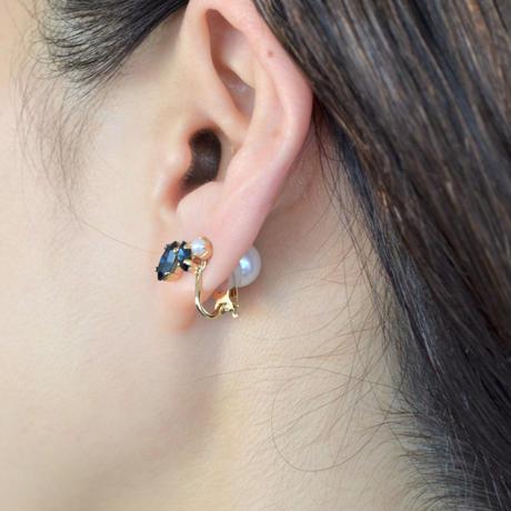 bijoux 2 crystals, pearl earring (Crystals , Pearl Mix, indigo blue)