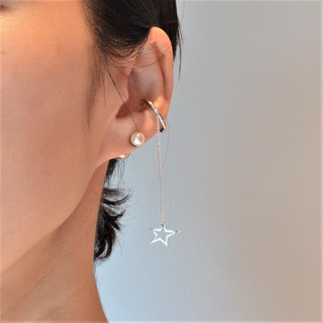 LIMITED COLLECTION【star openwork earring × pearl pierced earring ( silver )】