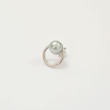 hoop catch pierce (cubic zirconia / 16mm hoop / silver)