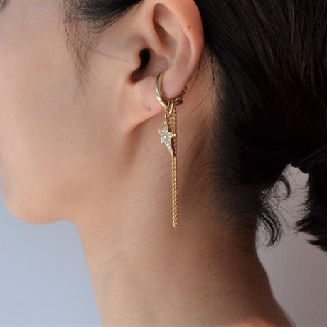 LIMITED COLLECTION【gold chains pave star earring 】