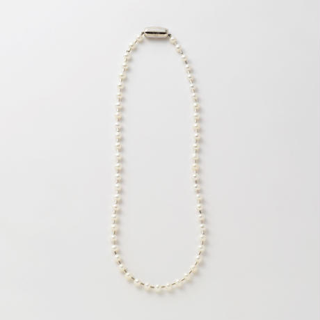 freshwater pearl ball chain necklace (silver / S size: 38cm)