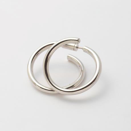 Silver line pierce(30㎜ line×30㎜ line/swarovski elements/Silver)