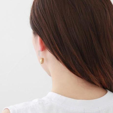 13mm gray agate / k10 post pierced earring