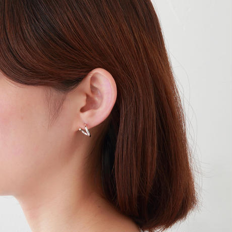 Silver line pierce(8㎜ line/Vertical type/swarovski elements/Silver catch)