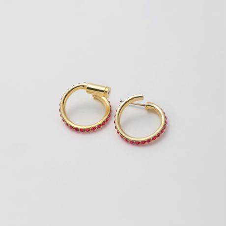 Ruby line pierce(19㎜ line×19㎜ line/swarovski elements)