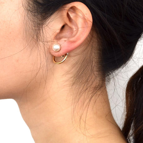 hoop catch pierce (pearl / 16mm hoop / gold)