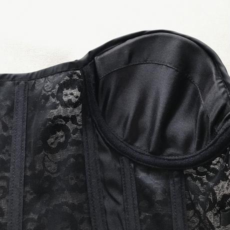 ROSAMOSARIO ローザモサリオ La Moglie di Zorro Black【レース×シルクサテン ビスチェ/コルセット】