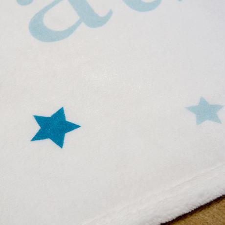 出産祝いに名前入りブランケット|パステルブルー&リトルスター・男の子への出産祝い