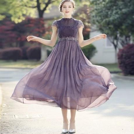 パーティードレス 韓国ワンピース 紫 パープル シフォン マキシワンピース ロングドレス フレアワンピ 結婚式 二次会 謝恩会 FS017801